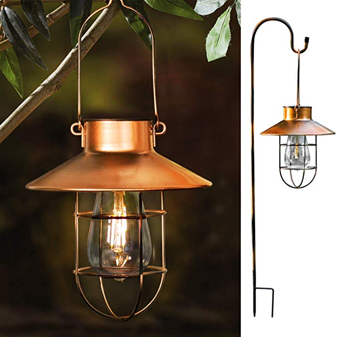 Amazon Com Rojoy Hanging Solar Lights Lantern Lamp With Shepherd Hook Metal Waterproof Edison Bulb Lights For Garden Outdoor Pathway Copper Garden Outd