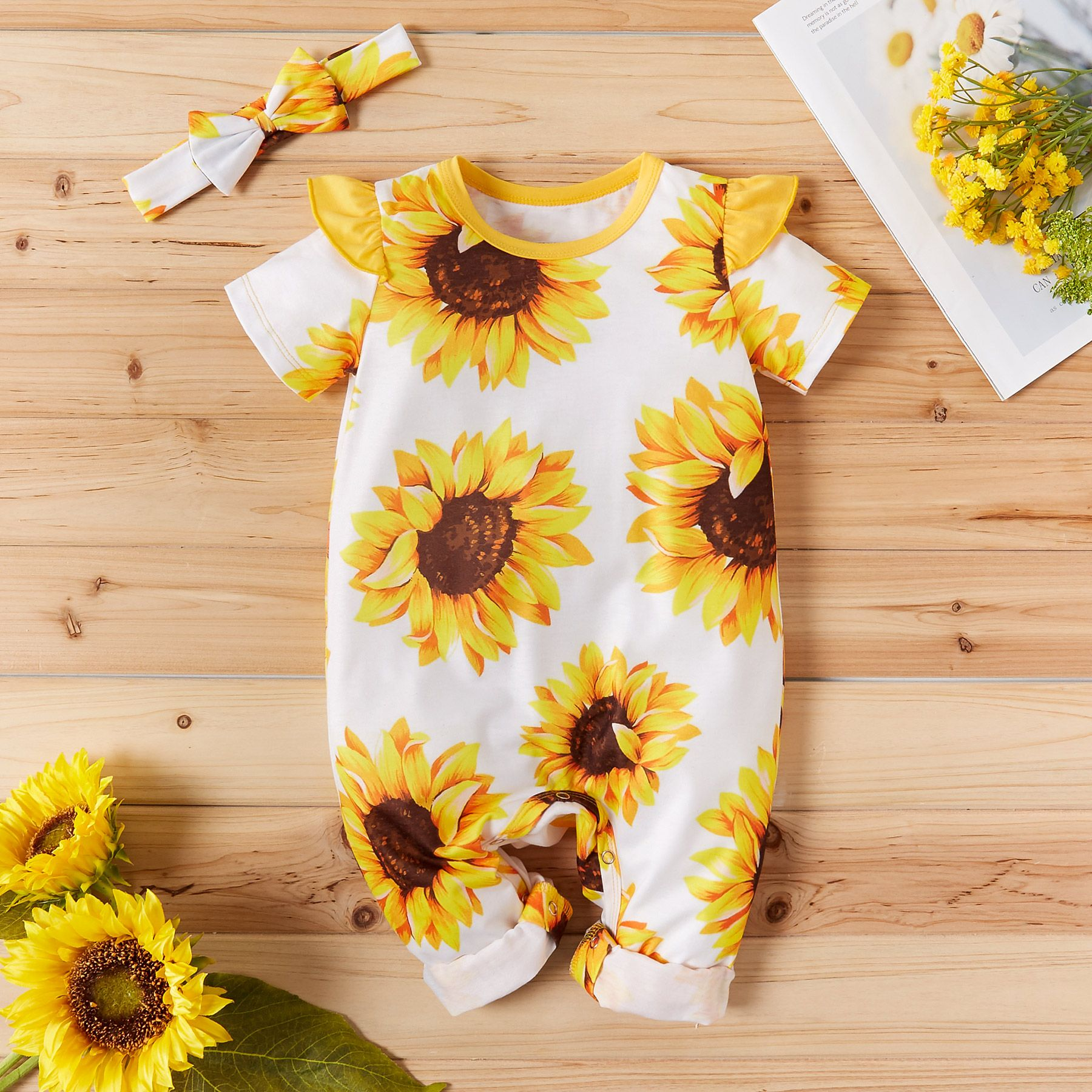 USA Toddler Kid Baby Girls Sunflower Romper Bodysuit Jumpsuit Outfit Clothes Set