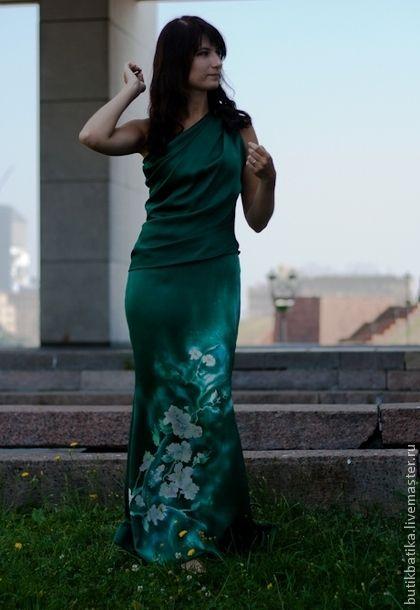 034610fd691 Платья ручной работы. Ярмарка Мастеров - ручная работа. Купить Платье Батик  Изумрудное утро. Handmade. Тёмно-зелёный