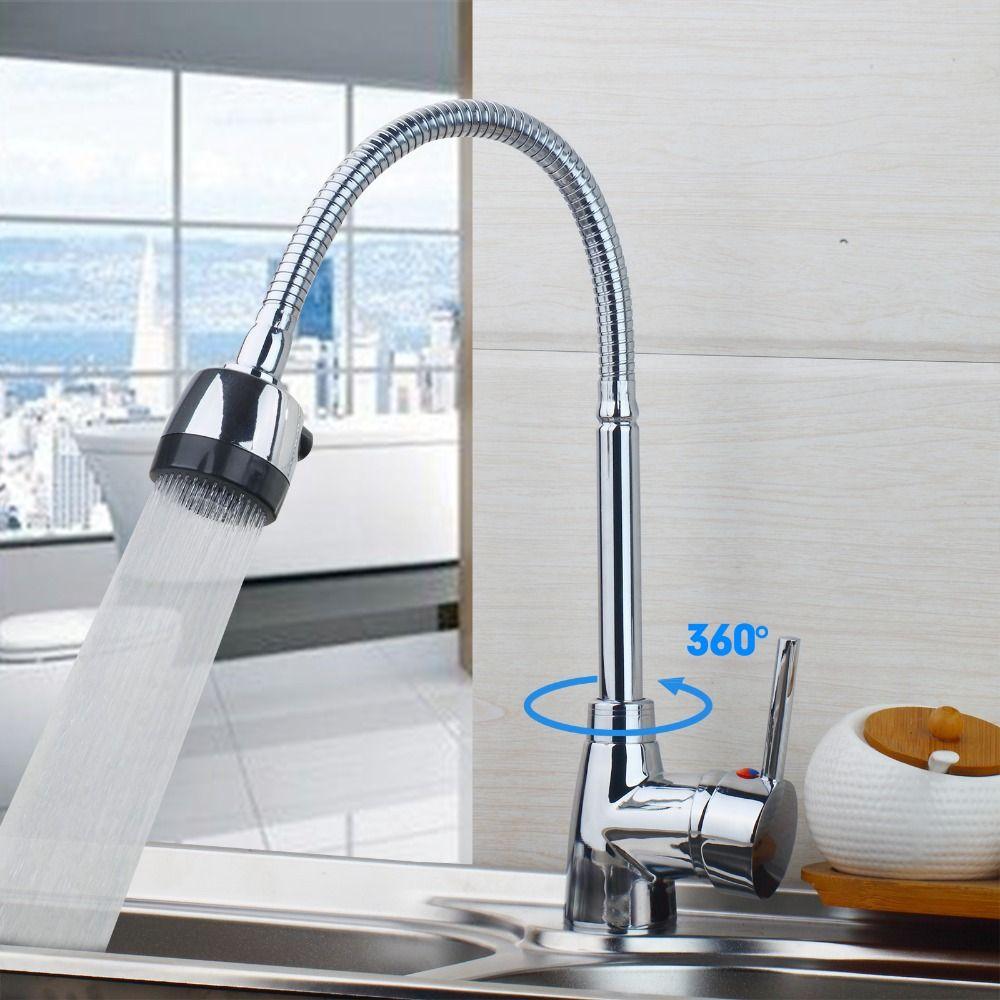 Fashion Style Polished Chrome 360 Degree Swivel Kitchen Faucet Deck ...