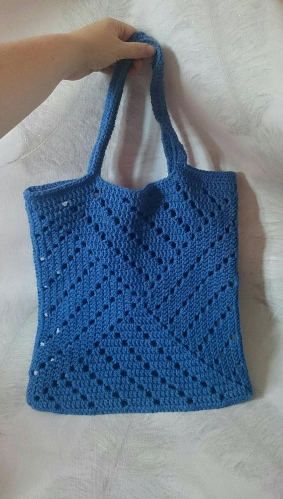 Denim blue market bag, Crochet tote in blue, Shoulder bag, Handmade bag, Reusable shopping bag, Whic