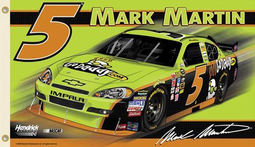 Mark Martin GODADDY #5 (2010) Giant 3'x5' NASCAR Flag - Hendrick Motorsports Chevrolet Impala - available at www.sportsposterwarehouse.com