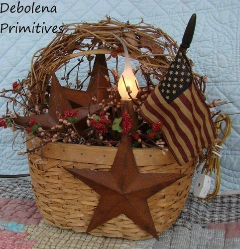 36 Stylish Primitive Home Decorating Ideas: Primitive Americana Lamp Centerpiece*Gathering*Rusty Stars