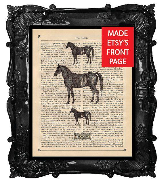me  HORSE Art Print Horse Antique Book Page Print by BlackBaroque, $10.00