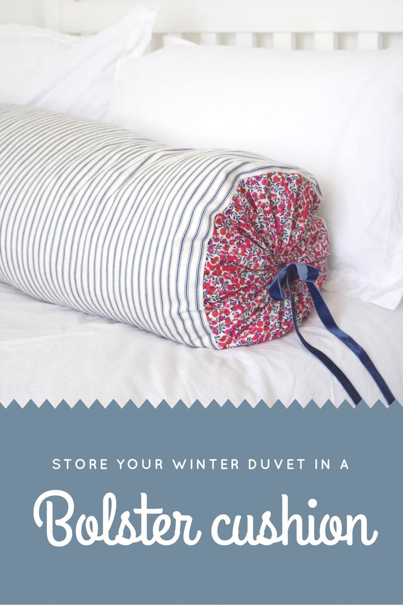 Sewing tutorial to make a bolster cushion to store your winter duvet ...