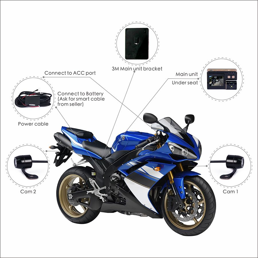 Vsys Dual Separate Car Bicycle Motorcycle Dvr Camera Recorder Home 2channel Remote View Mobile With Shock Sensor And Wifi Dashboard Dashcam Black Box Video