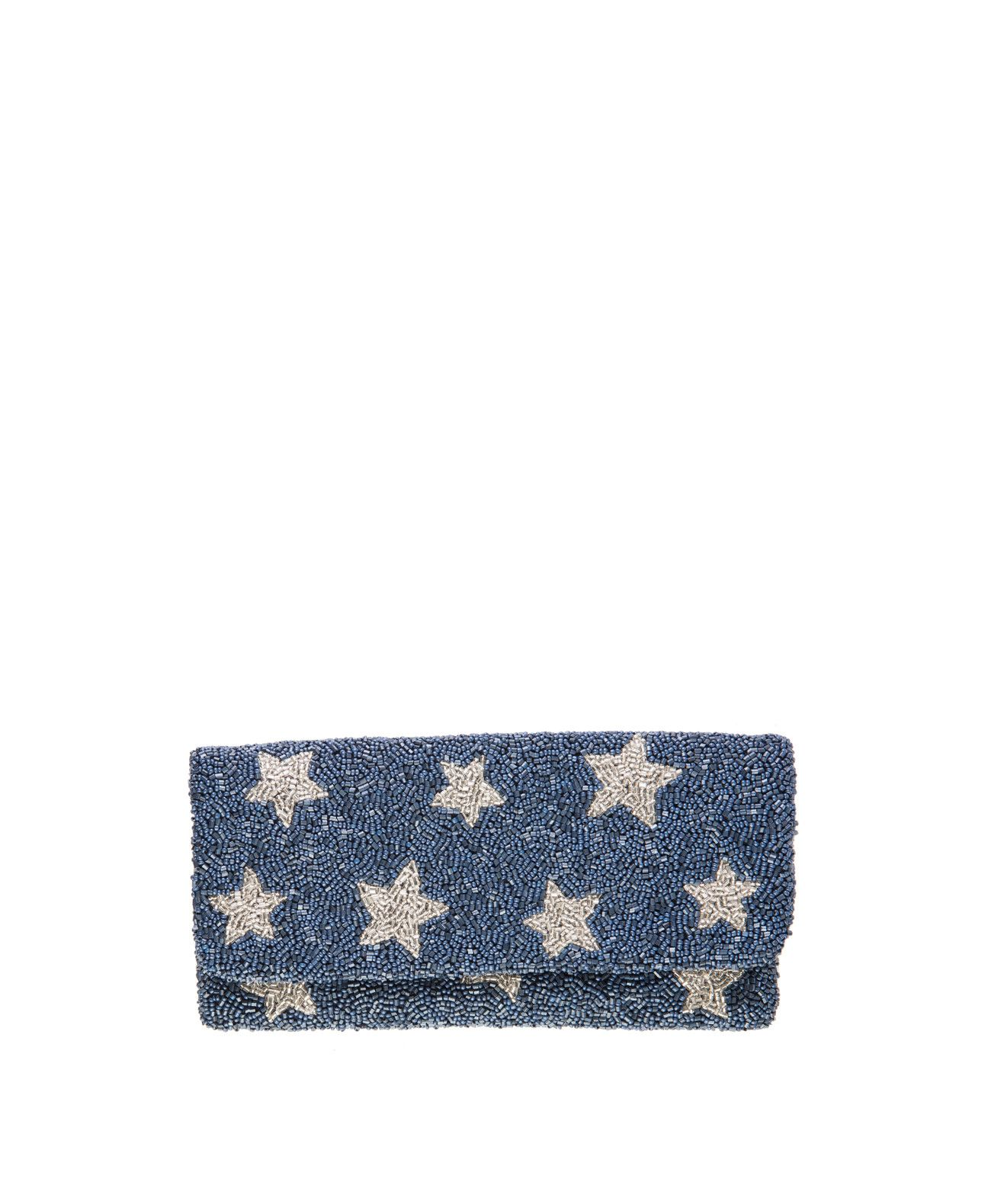 Beaded Silver Star Clutch