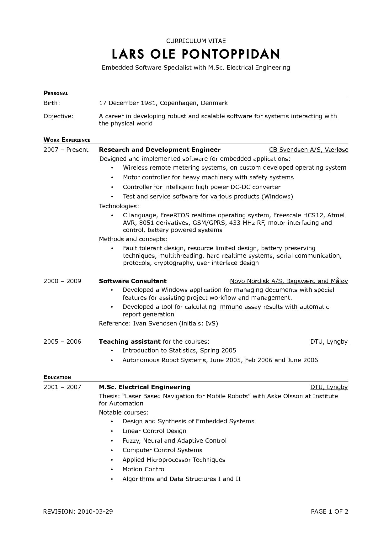 Resume Format Outline