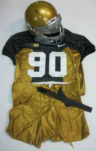 Iowa Hawkeye Authentic 2012 Throwback Football Uniform 42 77 Used In Game Ebay Football Uniforms Sports Uniforms Helmet Logo