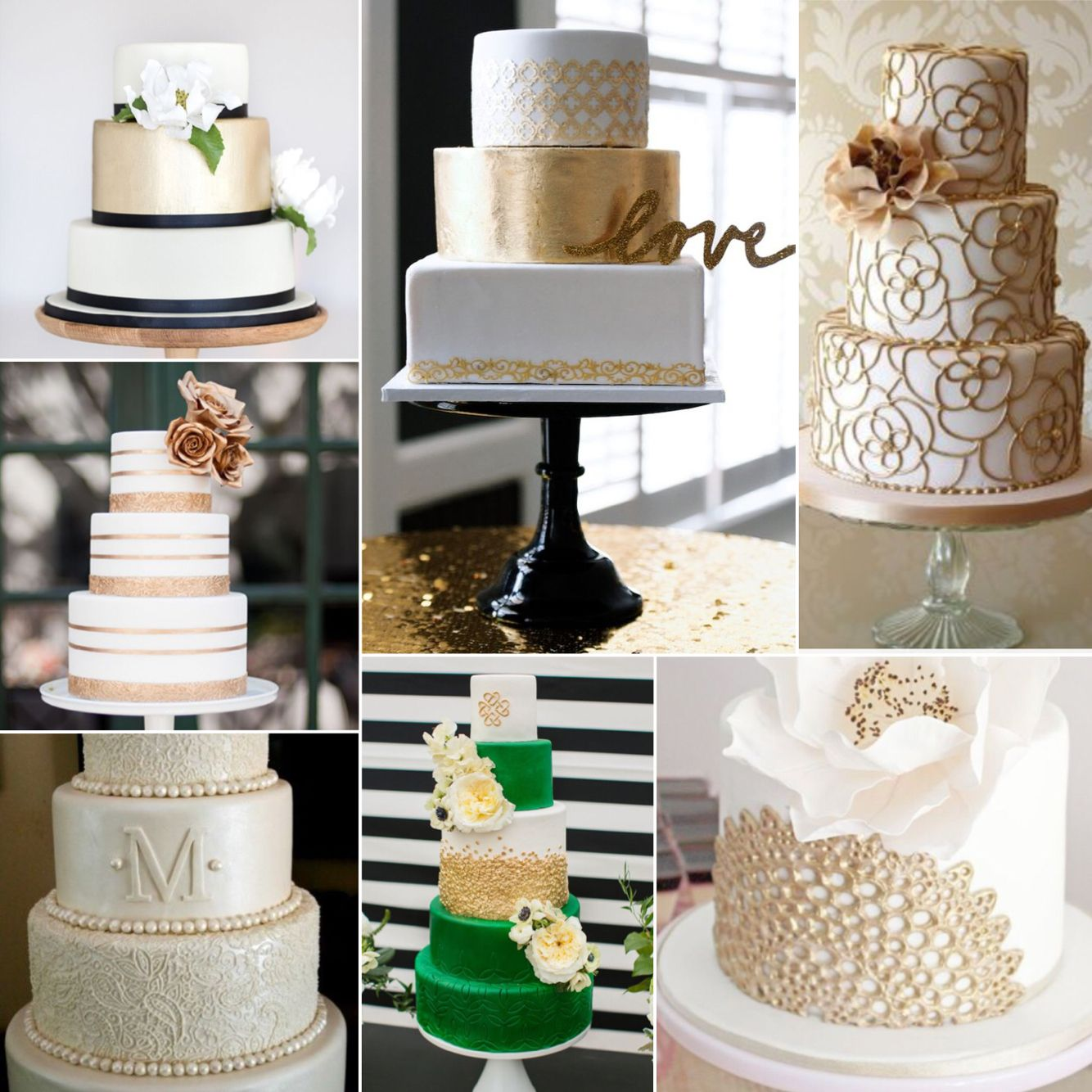 My favorite cakes! LOVE the gold!