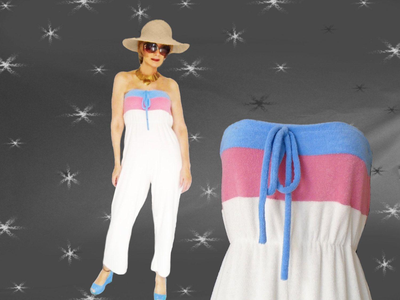 Vintage Strapless Jumpsuit - 70s Stretch Terry Beachwear ...