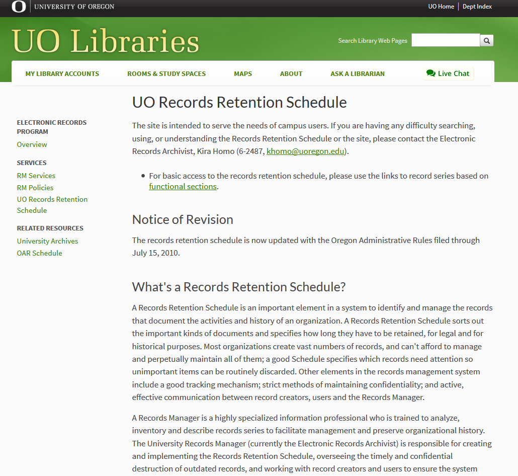 University Of Oregon Records Retention Schedule  Records