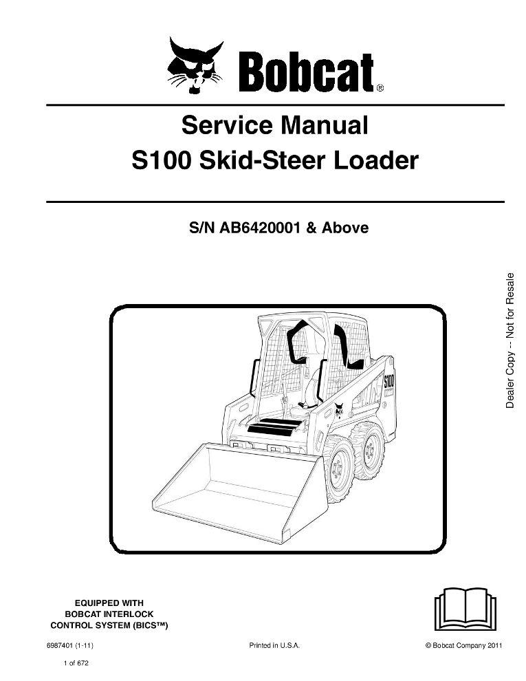 Bobcat S100 Skid Steer Loader Service Manual 1 11 Pdf Download Service Manual Repair Manual Pdf Download