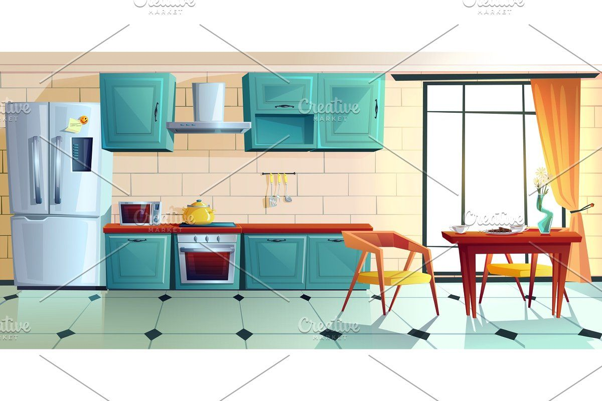 Home kitchen, empty interior with in 5  Home kitchens, Modern