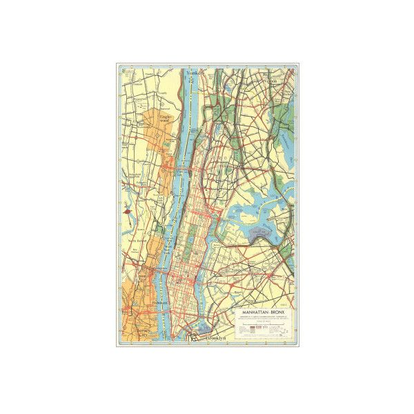 Map of Manhattan and Bronx, New York Wall Art Print ($21) ❤ liked ...