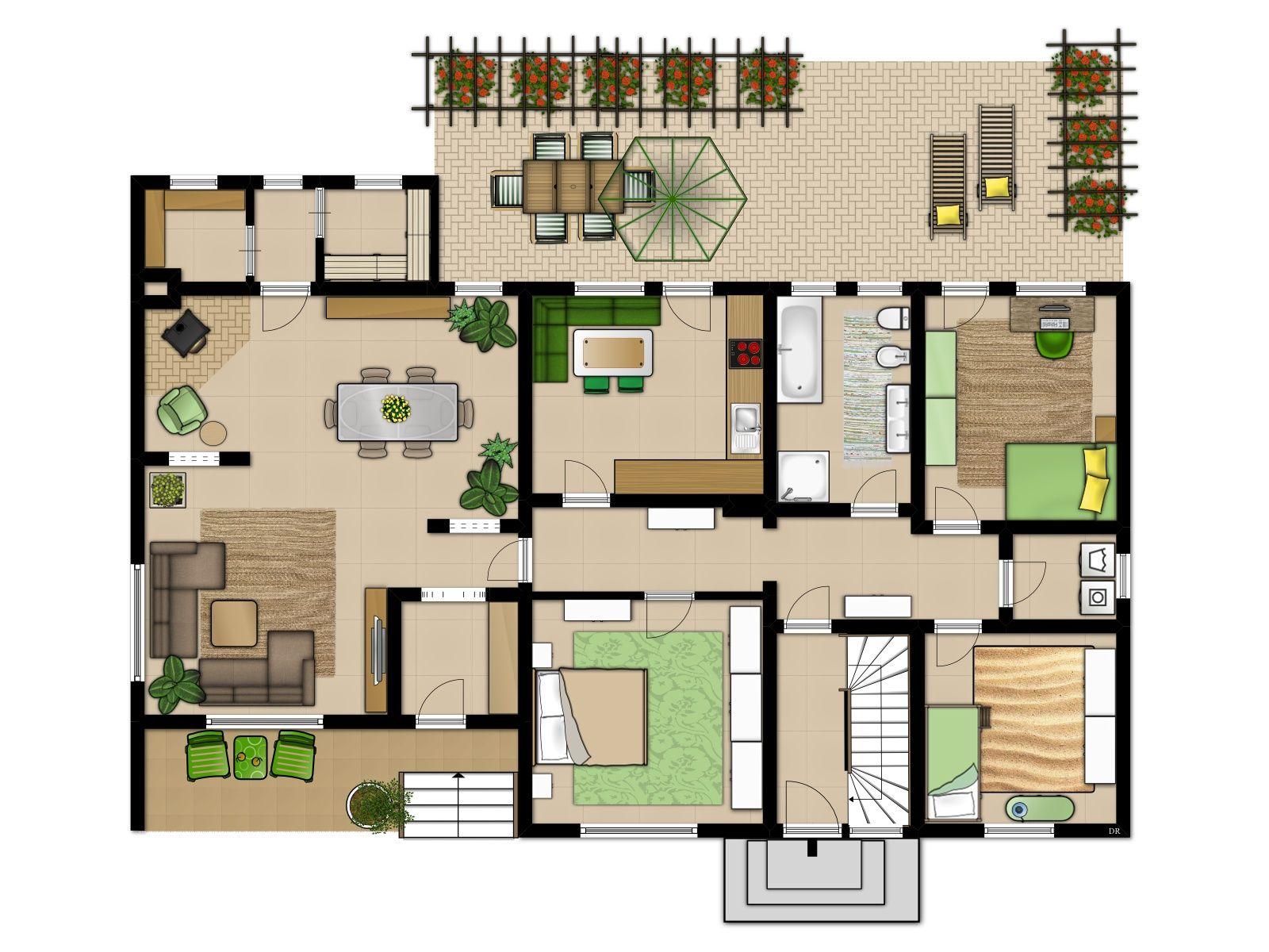 2Familienhaus, Grundriss, Einrichtungsvorschlag