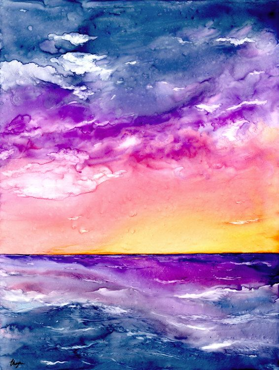 Original Sunset Storm Seascape Watercolour Painting On Yupo Art