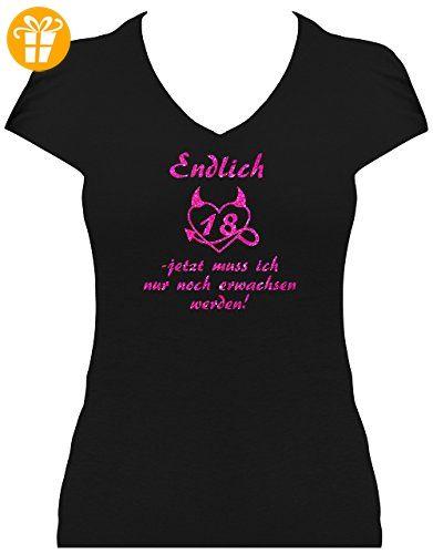Fun Shirt Sprüche Geburtstag Damen Endlich 18 Jetzt muss ich nur noch  erwachsen werden, T