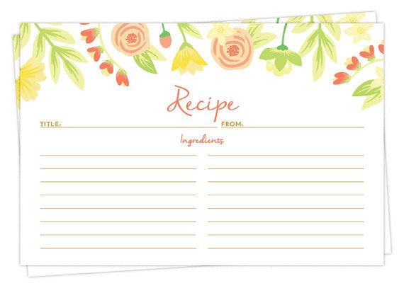 Set of 15, 30, or 50 Recipe Cards - Spring Flowers Design - 4x6 Recipe Cards - High Quality Linen Cardstock