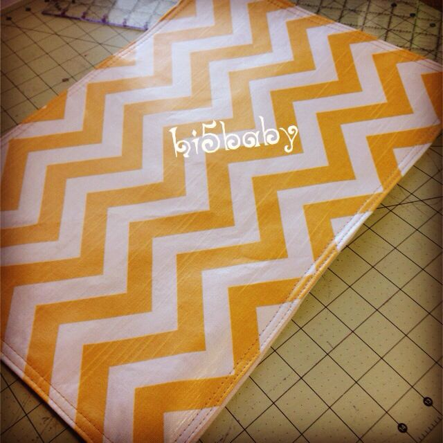 Vinyl covered chevron custom made placemats