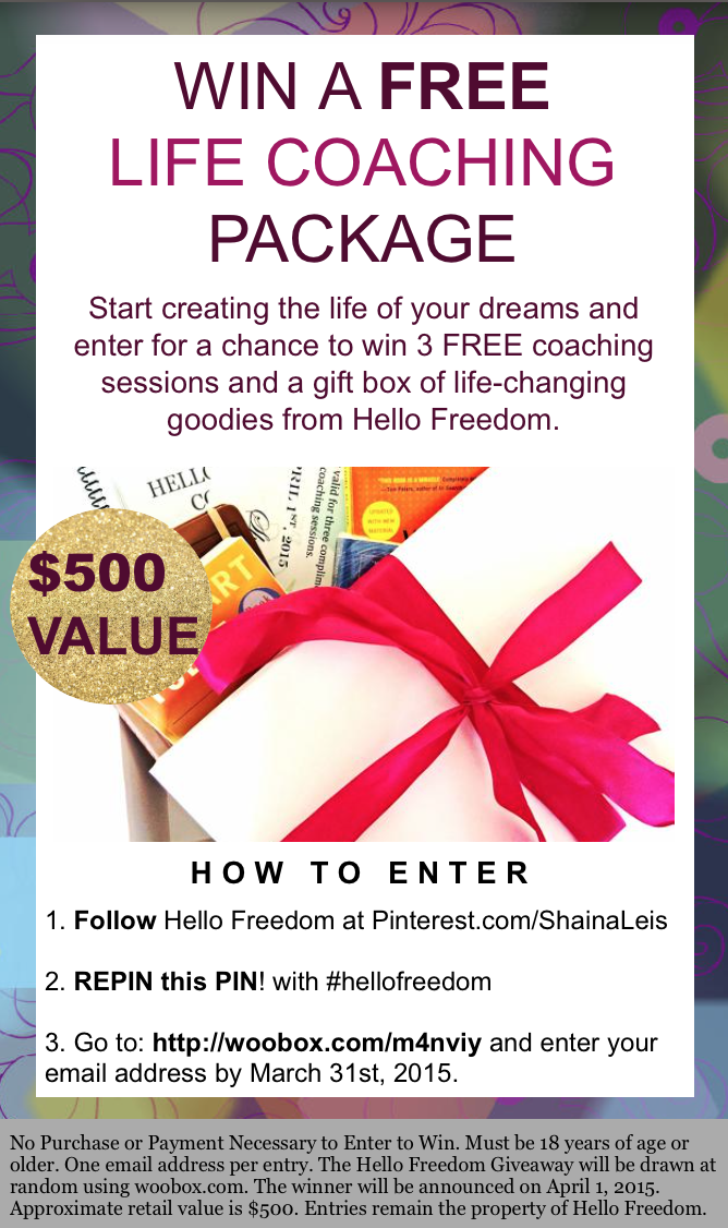 WIN a FREE Life Coaching Package! Start creating the life of your dreams. ENTER for Your Chance to WIN 3 Free Coaching Sessions with a Certified Life Coach & A Gift Box full of goodies! http://woobox.com/m4nviy #lifecoaching #contest #pinittowinit #sweepstakes