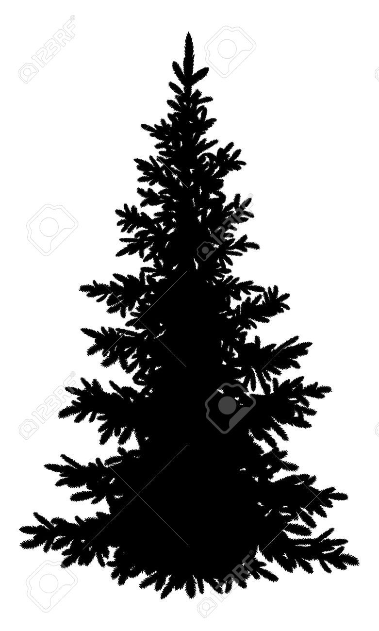 Realistic christmas tree drawing - Tree Christmas Fir Tree Black Silhouette Isolated On White Background Vector