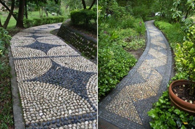 Kieselweg Hell Dunkel Beton Platten Unterlage Garten Garten