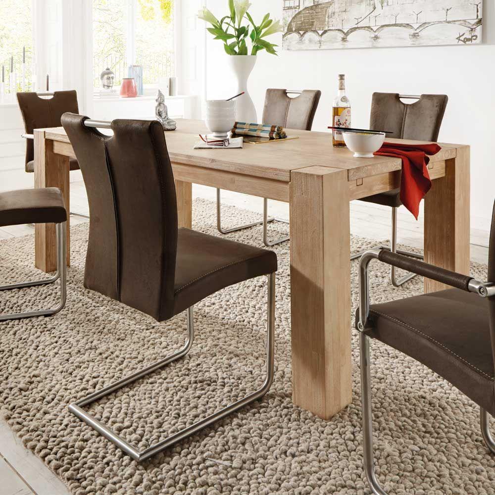 Massivholz esstisch aus akazie grey wash holztisch for Echtholztisch esszimmer