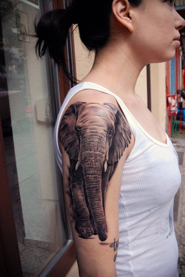 Woman With Black Ganesha Half Sleeve Tattoo Tatoo Idee