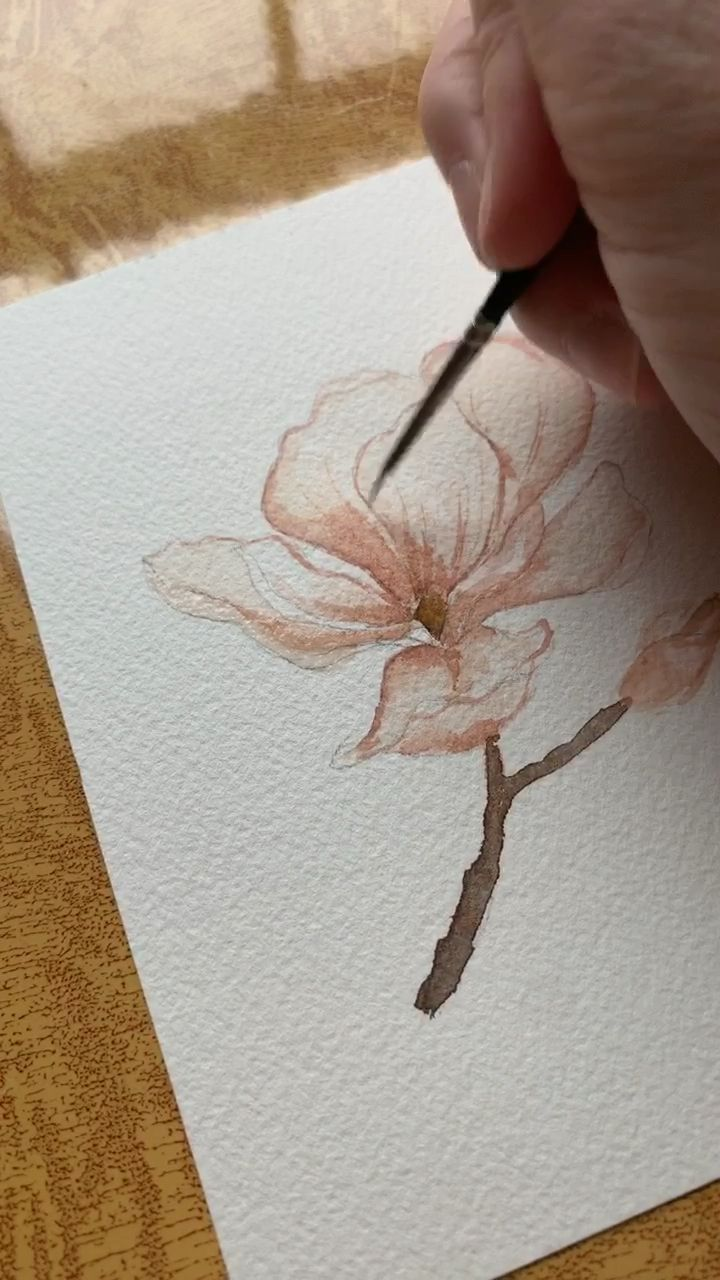 Magnolia Watercolor Painting  #wasserfarbenkunst