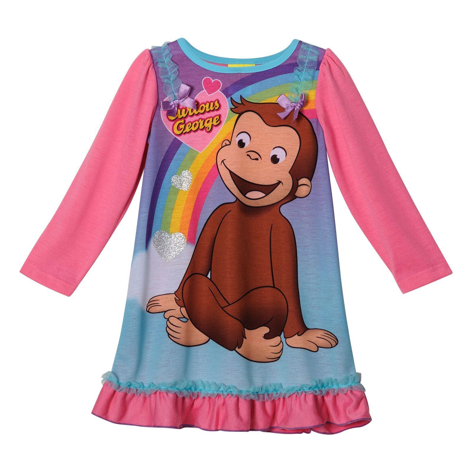 Curious George Girls Long Sleeve Nightgown Pajamas Toddler Girls Nightgown Girls Long Sleeve Toddler Pajamas