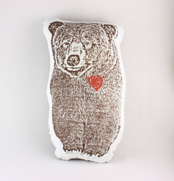 Grizzly Bear Pillow w/ Heart, via Wilderness Romance.