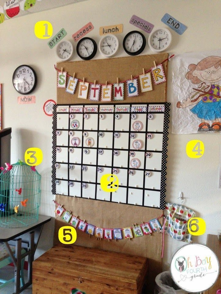 Calendar Design For Classroom : Amazing classroom calendar with real clocks to show times