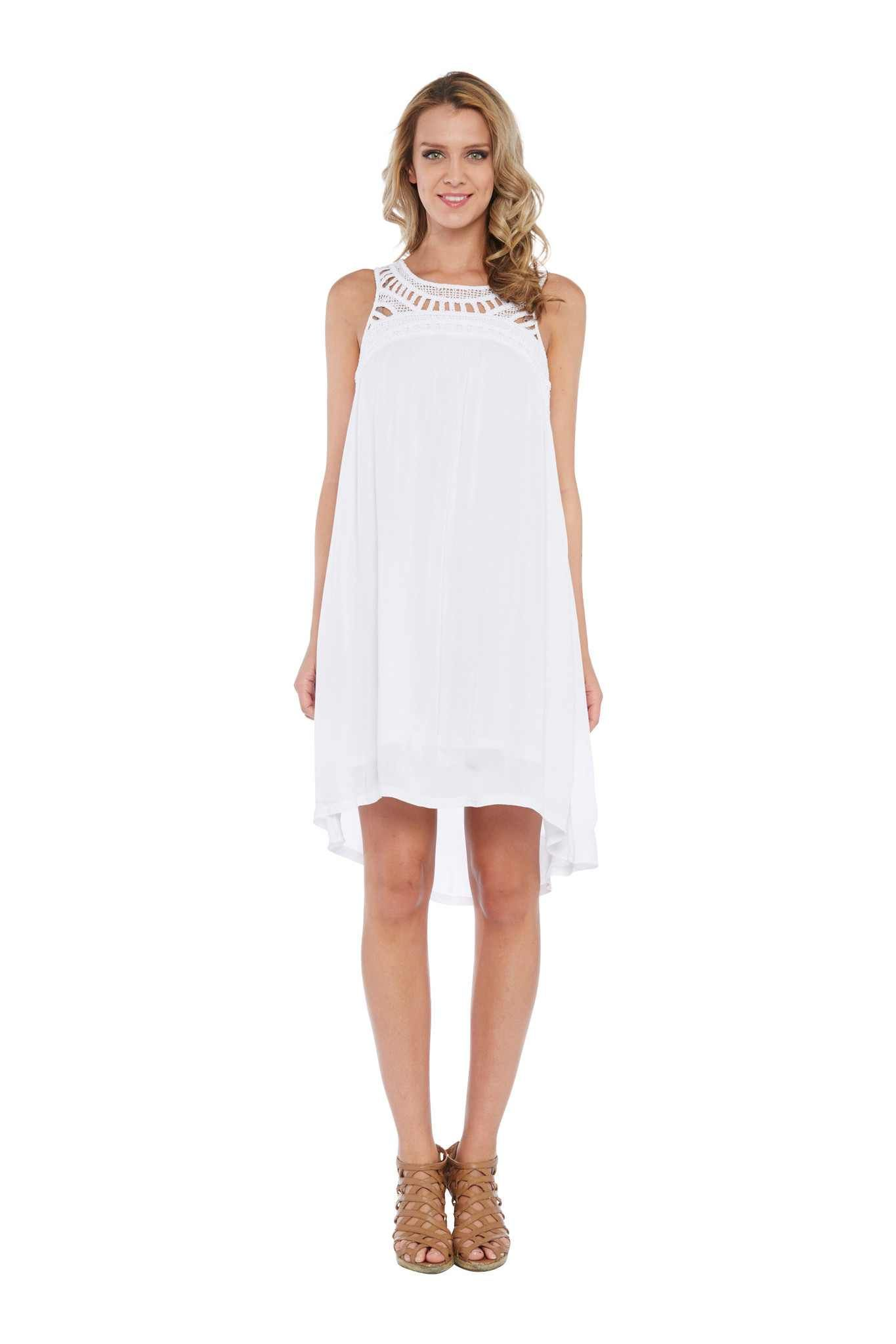 Kaktus Resort 16 Crochet Neckline Trapeze Dress In White Crochet Contemporary Outfits White Dress Dresses [ 2048 x 1365 Pixel ]