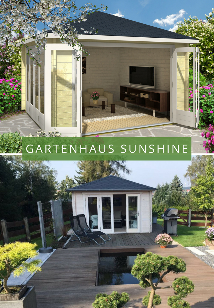 gartenhaus sunshine 40 mit gro er faltt r gartenh user. Black Bedroom Furniture Sets. Home Design Ideas