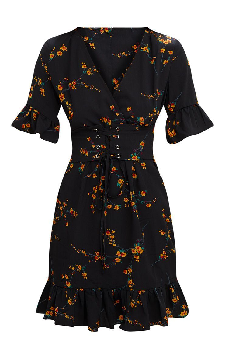 e92b9c4f568f Black Floral Corset Swing Dress. Dresses