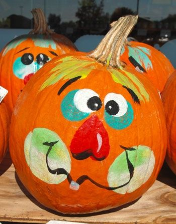 Painted Pumpkins Jack O Lantern Faces Ooo Halloween