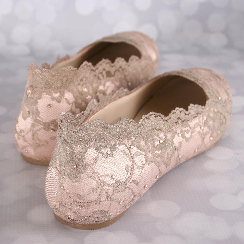 Wedding Shoes Blush Shoe Flats Gold Lace Bling