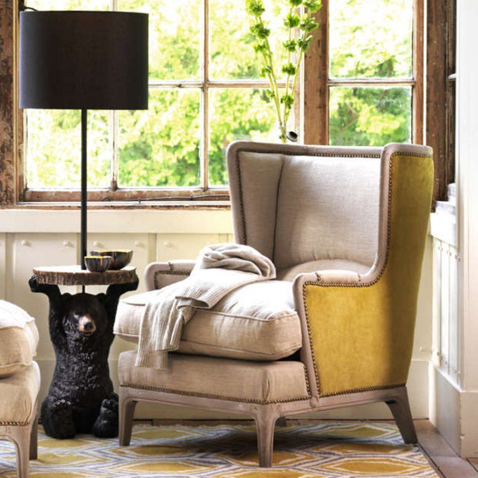 Valentin Armchair With Yellow Velvet Sides (avec images