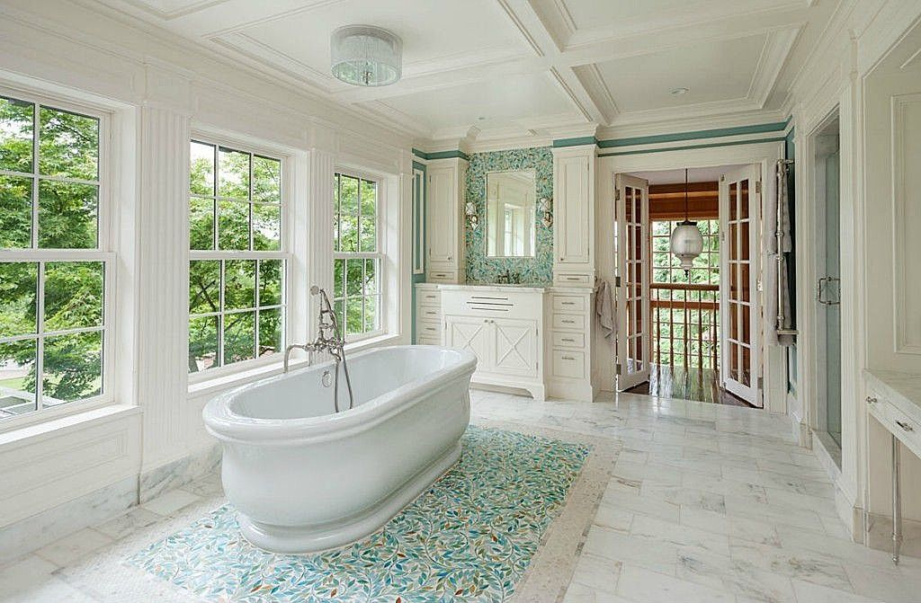 Tile floor underneath tub | Bathrooms | Pinterest | Tile flooring ...