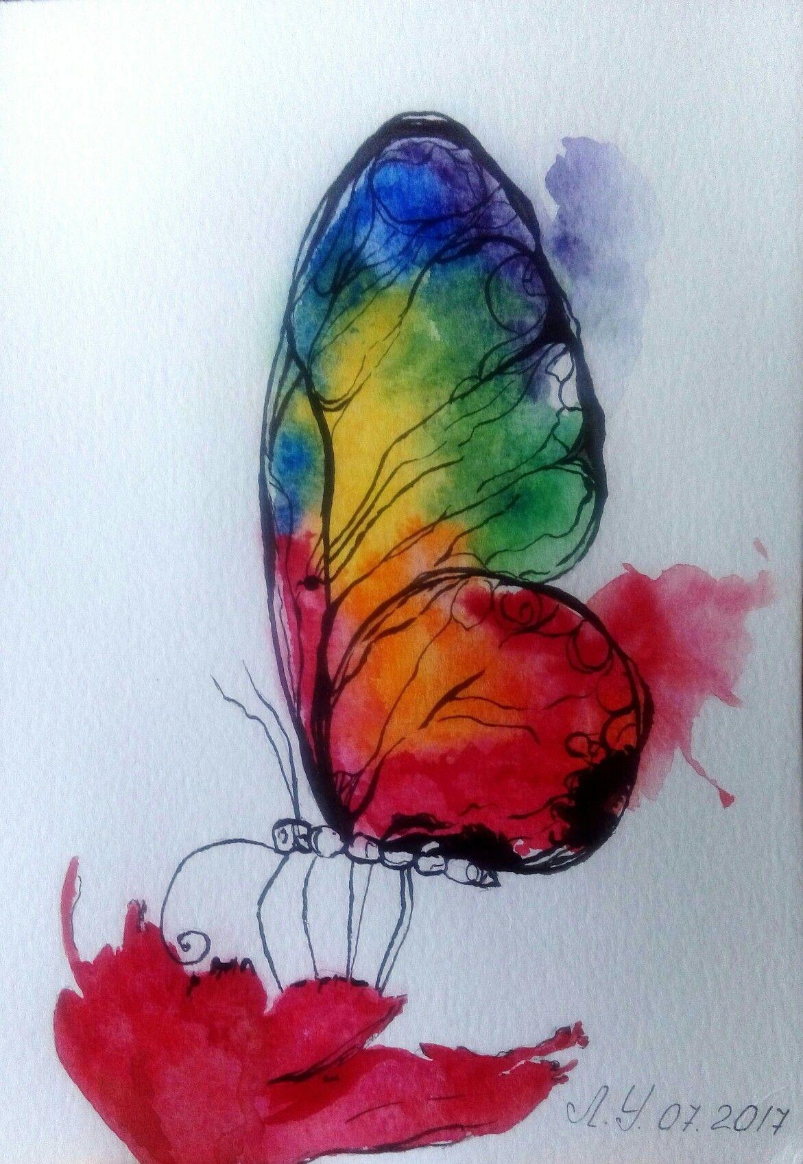 Pin By Graciela Gismondi On Watercolour Butterflies Butterfly Watercolor Mandala Drawing Christmas Paintings