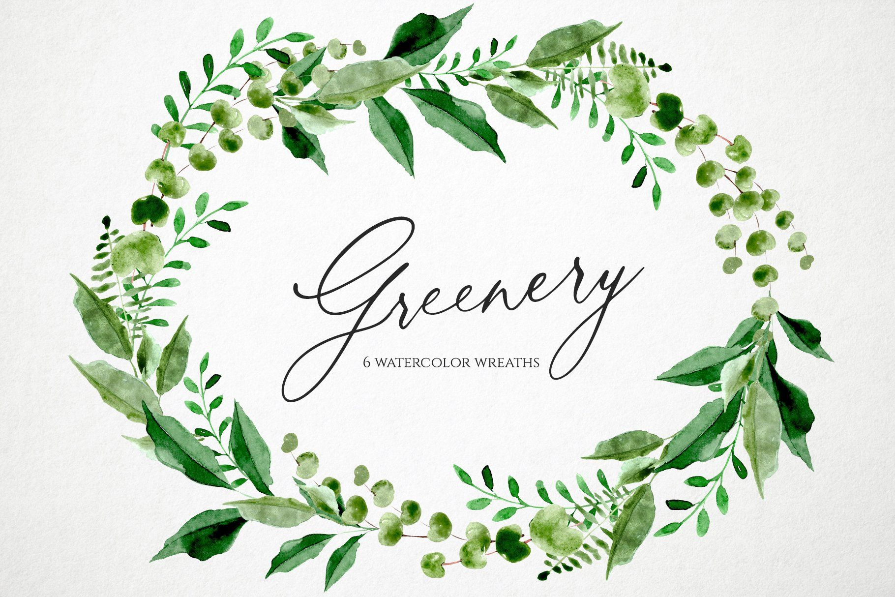 Watercolor Green Leaves Wreaths Set Ad Projects Logo Branding Receive Ad Wreath Watercolor Wreath Clip Art Clip Art