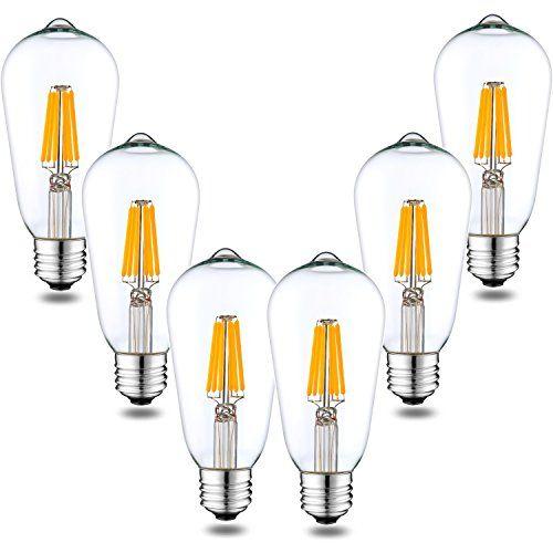 Dimmable Vintage Edison LED Filament Bulb, 6W 600LM, 60W Equivalent
