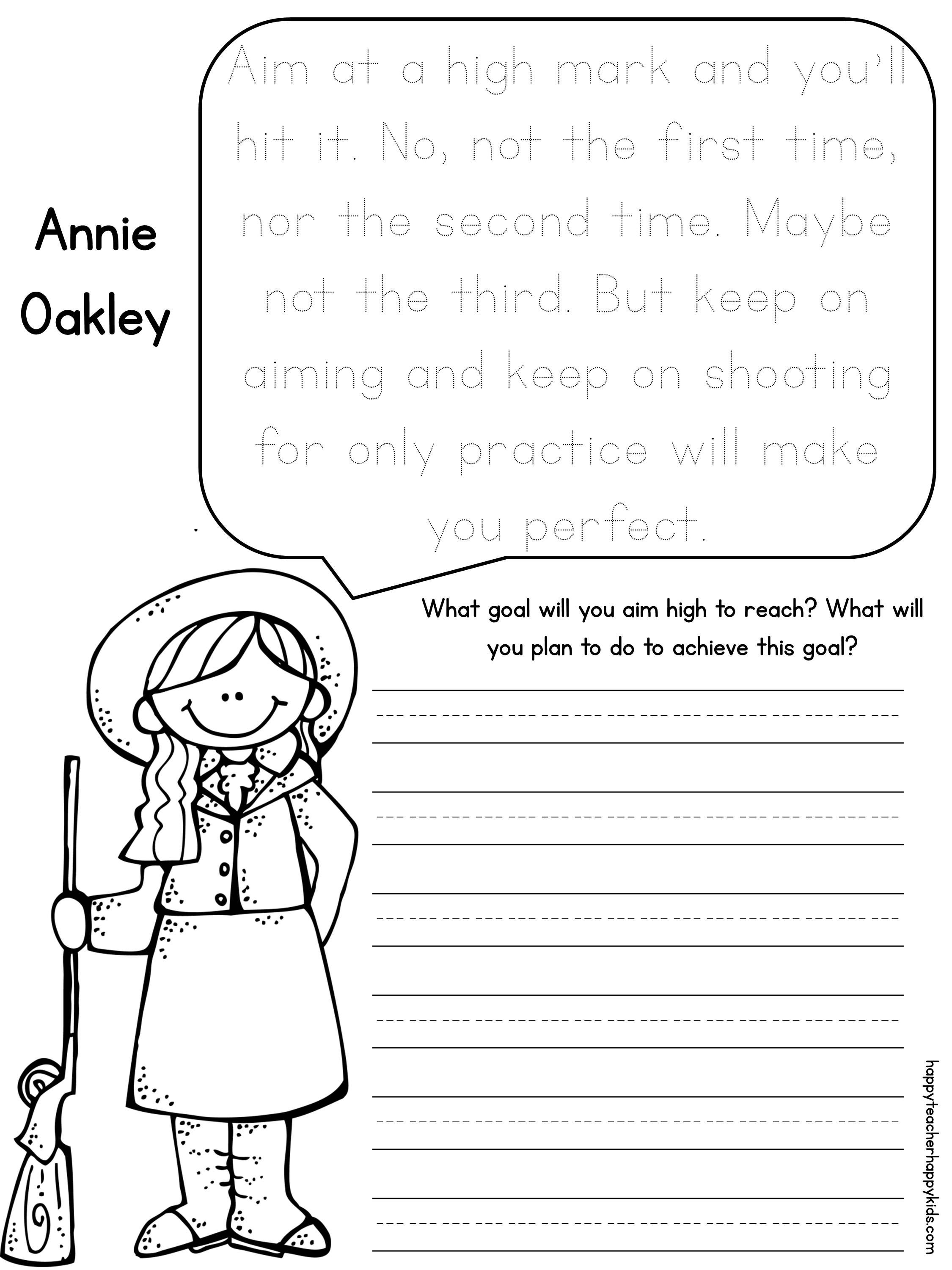 small resolution of Annie Oakley Women's History Month Freebie!   History worksheets