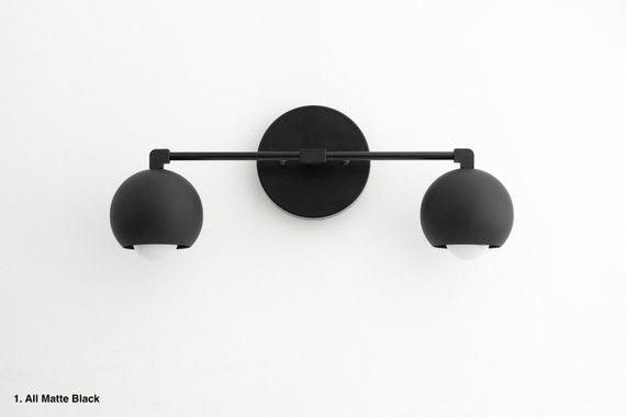 Photo of Modern washstand – black wall light – bathroom fixture – black ball light – modern bathroom – black white light – model no. 5469