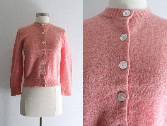 1950s Pink Sweater / Vintage 50s Jane Marshall Peach Pink Wool ...