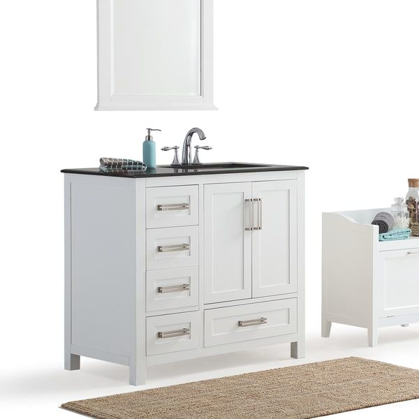 Wyndenhall Jersey White 36 Inch Offset White Bath Vanity With