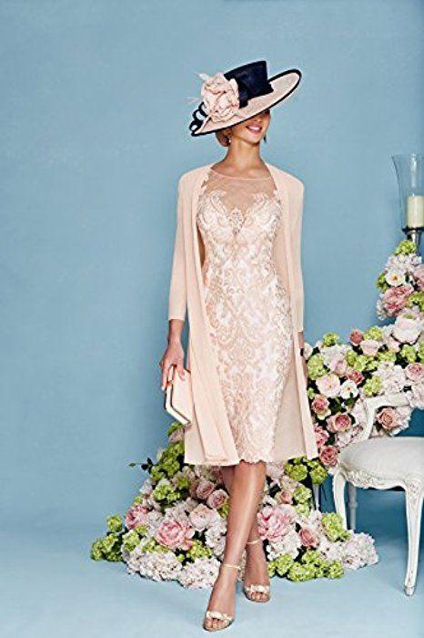 Newdeve Light Pink Lace 3/4 Sleeve Knee Length Formal Bridal Mother Dresses (16)