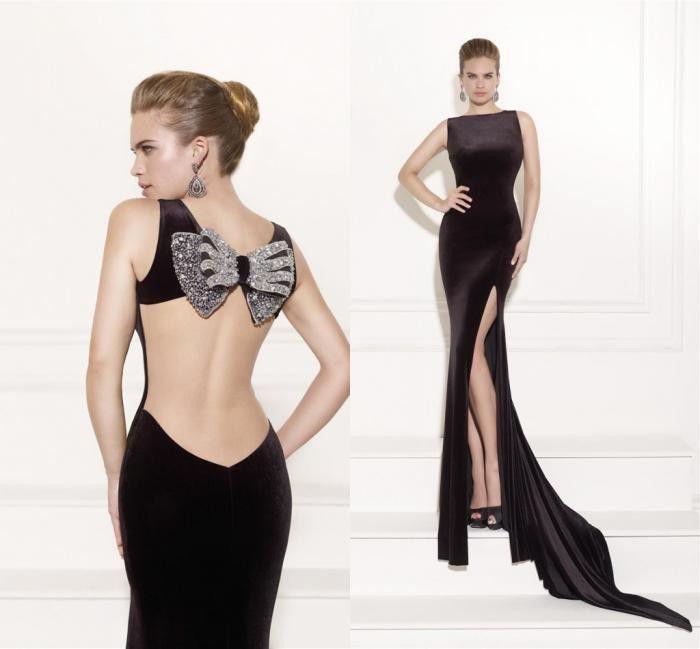 fe54d50fa2b Backless Black Long Formal Evening Gown Slit Mermaid Sleeveless Beautiful Prom  Dresses