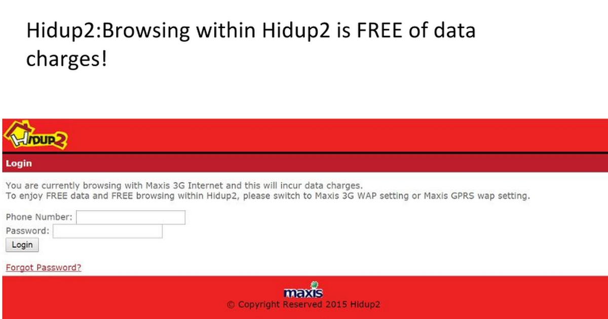Hidup2browsing Within Hidup2 Is Free Of Data Charges 3g Internet Browsing History Social Networks